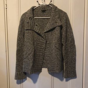 Charcoal grey and white buttoned sweater